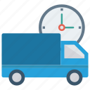 clock, delivery, time, truck, watch icon