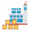 building, factory, office, packages, parcel icon
