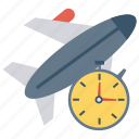 aircraft, airplane, flight, time, travel icon