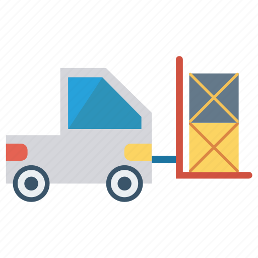 boxes, crane, forklift, lifter, vehicle icon