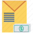 cash, envelope, letter, mail, message icon