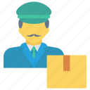 box, delivery, man, package, parcel icon