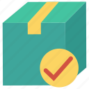 carton, check, package, parcel, tick icon