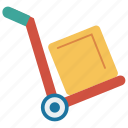 box, dolly, package, parcel, trolley icon