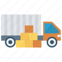 boxes, cargo, delivery, product, truck icon