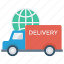 delivery, global, transport, truck, world icon