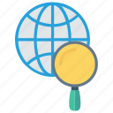 glass, global, magnifier, search, world icon
