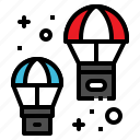 box, parachute, distribution, transportation, logistic icon