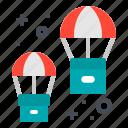 box, distribution, logistic, parachute, transportation icon