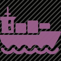 boat, cargo ship, container, logistics icon