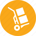 boxes, hand truck, logistics, package icon