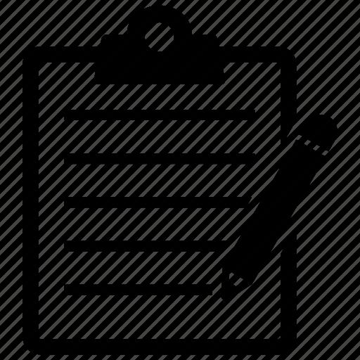 checklist, clipboard, edit, list, note, pencil icon