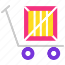 delivery, package, parcel, shipment, transport, trolley icon