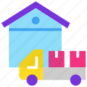delivery truck, delivery van, godown, logistics, production, storage unit icon