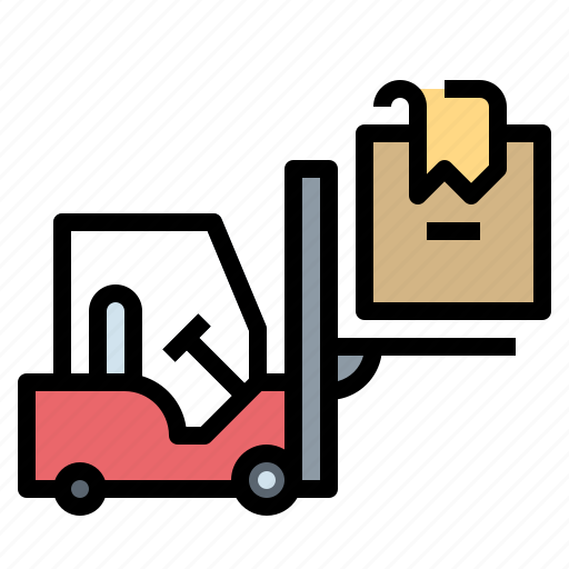 box, forklift, industry, logistic, shipping icon