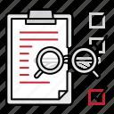 checklist, clipboard, glasses icon