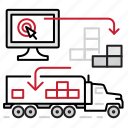 control, electronic, loading, logistics, trucks icon