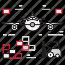 cargo, loading, logistics, plane icon