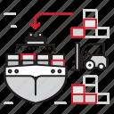 cargo, loading, logistics, ship icon