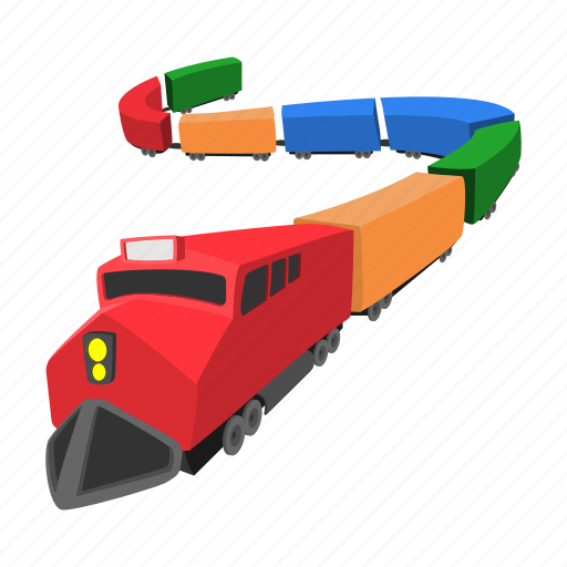 cartoon, locomotive, railway, toy, train, travel, wagon icon