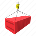 cargo, cartoon, container, crane, freight, heavy, shipping icon