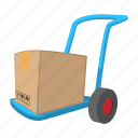 cargo, cartoon, dolly, freight, package, post, transportation icon