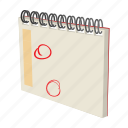 calendar, cartoon, date, note, notebook, schedule, spiral icon