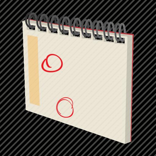 calendar, cartoon, date, note, notebook, schedule, spiral icon