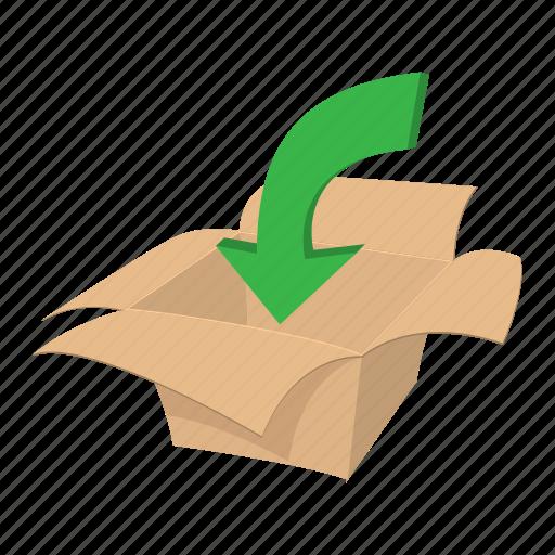 arrow, box, cardboard, carton, cartoon, container, package icon