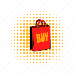 bag, buy, comics, gift, paper, sell, shop icon