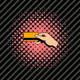 card, comics, credit, hand, hold, spending, swipe icon