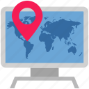 couriers, delivery, location, logistics, online, pin computer icon