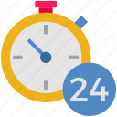 24hours, delivery, fast delivery, logistics, service, shipping, stopwatch icon