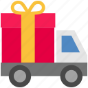 cargo, delivery, gift, logistics, shipping, transport, truck icon