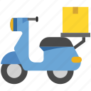 courier, delivery, fast delivery, logistics, parcel, scooter, shipping icon