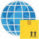 box, delivery, international, logistics, package, world, worldwide shipping icon
