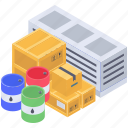 cargo barrels, cargo container, containerization, parcels, shipment icon