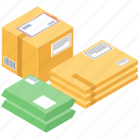 cardboard boxes, delivery boxes, logistic delivery, packages, packets, parcels icon