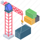 crane machine, industrial crane, material lifter, parcel loading, tower crane icon