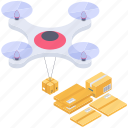 drone delivery, drone shipment, logistic delivery, quadcopter delivery, quadcopter shipment icon