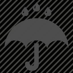 drops, rain, raining, umbrella, weather icon