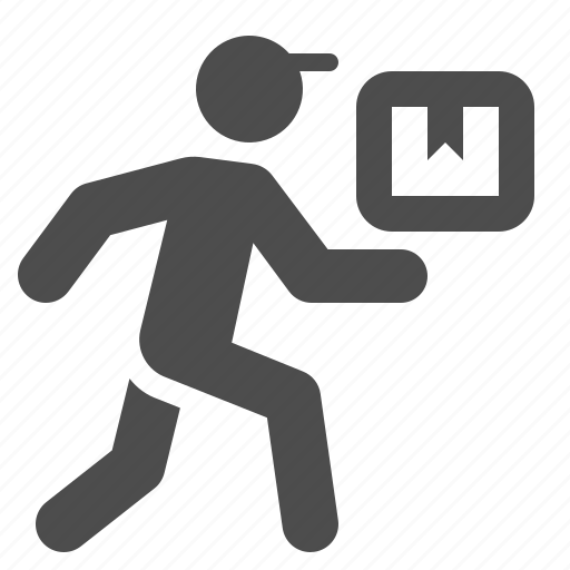 box, boy, delivery, logistics, man, package, running icon