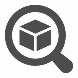 box, crate, delivery, magnifying glass, package, tracker, tracking icon