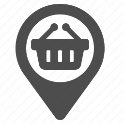 basket, delivery, gps, location, marker, shop, shopping icon