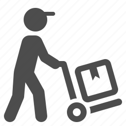 box, courier, delivery, hand truck, logistics, man icon