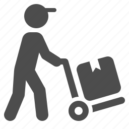 boy, courier, delivery, hand truck, logistics, man, package icon