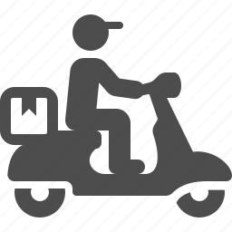 boy, courier, delivery, logistic, man, package, scooter icon