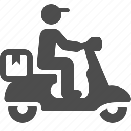 boy, courier, delivery, logistics, man, package, scooter icon