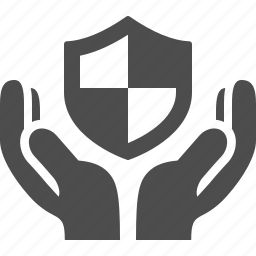 hands, insurance, security, shield icon