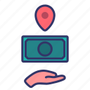 delivery, destination, freightcollect, logistics, money, payment, service icon